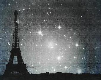 Starry Night in Paris. Eiffel Tower photo - Visionary Surreal Nature Urban Photography, Contemporary, Modern art