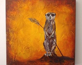 Meerkat meercat original painting textured wood canvas unique and cute wall art
