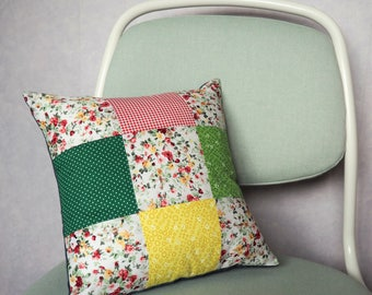 Square Patchwork Cushion - Floral/Red/Yellow/Green - 12inch/30cm square - Envelope back - Cotton, Denim - 9 square - Includes cushion pad