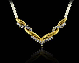 Lady's Gold Diamond & Seed Pearl Necklace
