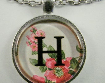 """Initial """"H"""" Necklace -- Spring pattern Personalized Letter H Necklace, Wedding Necklace, Bridesmaid Necklace, Hen Night Necklace, Friendship"""
