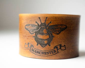 Manchester Worker Bee Engraved on Wide Leather Cuff