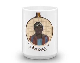Waffles Don't Lie - Lucas, Geeky Mug, Fandom Mug, Eleven Mug, Gift for Geeks, Gift for Nerds, Waffle Mug