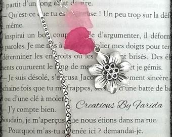 Silver rose leaf and flower bookmark