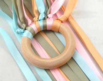 Rainbow ribbon hand kite -  Pastel Rainbow Waldorf Wind Wand - Waldorf satin ribbon handkite