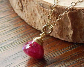 Ruby Necklace, Red Ruby Necklace, July birthstone, gold filled, Genuine Ruby Necklace, solitaire necklace