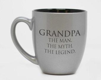 L'homme, le mythe, la légende, grand-papa Mug, fête des pères, cadeau pour Papy, personnalisé Mug, tasse gravée, cadeau personnalisé--27175-CM06-102