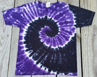 Purple and Black Tie Dye Tshirt, Adult S M L XL 2XL, Womens Tie Dye Shirt, Mens Tie Dye Shirt, Tie Dye Tee, Hippie Shirt