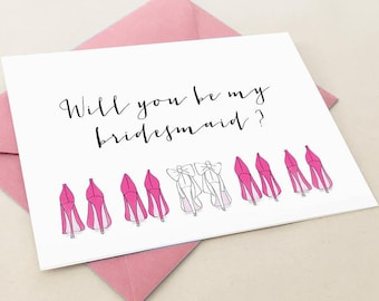 Will you be my bridesmaid card, bridesmaid proposal card, 5x7, pink, custom card, calligraphy