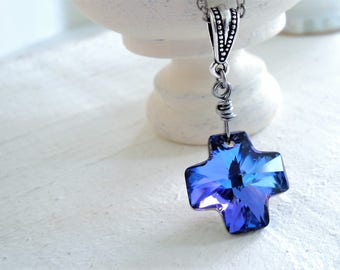 Boho Purple Blue Cross Necklace Simple Cross Pendant Necklace Swarovski Crystal Long Wire Wrapped Pendant Necklace Colorful Bohemian Cross