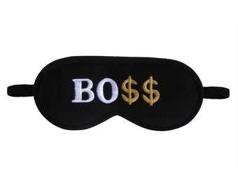 Boss Sleep Mask, Dollar sleeping eye mask, Best eye mask, Text sleepmask, Office party gift, Gadget for him, Funny for man, Millionaire gift