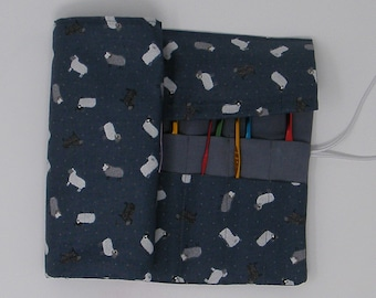 Crochet Hook Case. Double pointed needle roll. Sheep fabric