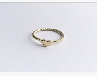 GOLD ring with heart, ring, heart, ring, ring in rose gold heart