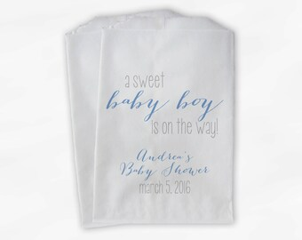 Sweet Baby Boy On The Way Baby Shower Candy Buffet Treat Bags - Set of 25 Baby Blue Personalized Favor Bags (0181)