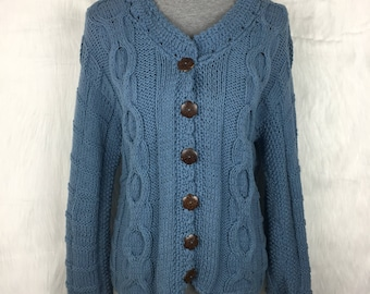 Vintage Blue Hand Knit Cable Knit Cardigan