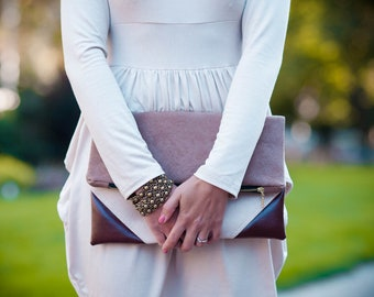 Fold over clutch purse in the Color of Your Choice