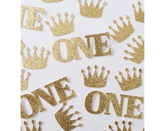 Glitter Crown Birthday confetti, one confetti, glitter crown and one confetti, Princess party decorations, 1st birthday- set of 50 pieces