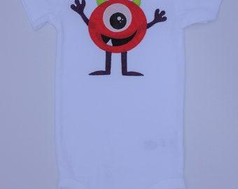 Applique Baby Onesie 6M Red Alien/Monster