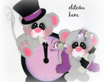 Elite4u Kam New Year Mice Premade Paper Piecing for Scrapbook Page Layout Album