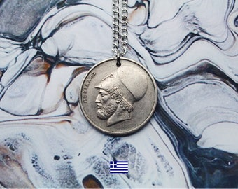 Greek 20 Drachmai Handmade Silver Coin Necklace (Reversible) - Silver Plated Chain.
