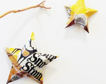 Buck Snort Stout Beer Can Stars Christmas Ornaments, Set of 2, Hunters Gift, Pennsylvania Beer
