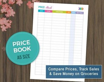 A5 Compare Prices, Track Sales, Save Money on Groceries, Price Book Printable, Price Comparison, Compare Price, Budgeting, Groceries