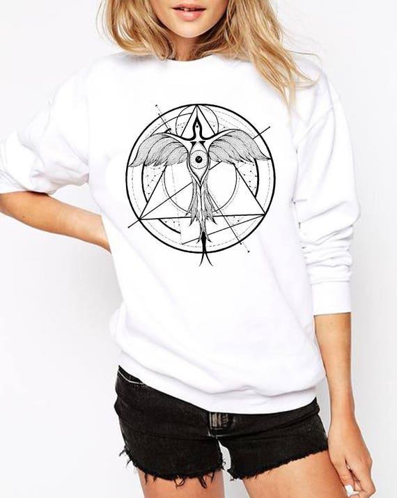 Phoenix ascending | Unisex Crewneck Sweatshirt | Geometrical drawing | Phoenix bird | Graphic shirt | Ink Tattoo style | Alchemy |ZuskaArt