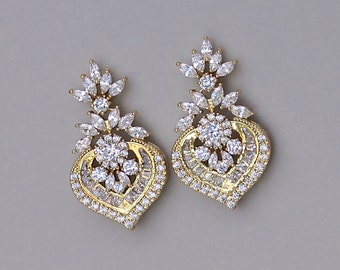 Gold Crystal Earrings, Gold Bridal Earrings, Crystal Bridal Jewelry, Gold Wedding Jewelry, TAYLOR GC