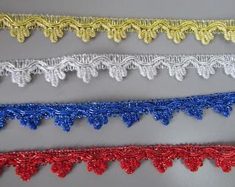 1.5cm Metallic Braid top quality x 1 metre 4 colours to choose