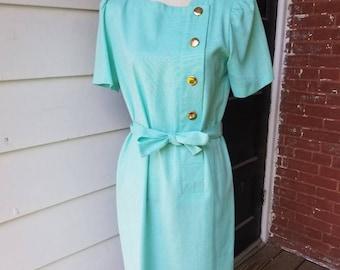 1950s Light Aqua Office Dress || Lady Carol