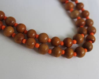 Wooden and Coral Color Beaded Sweater Necklace