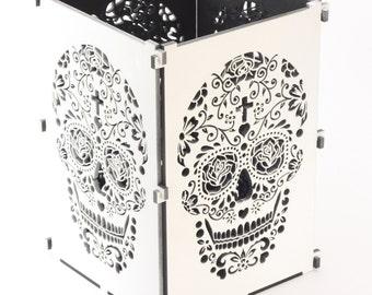 Sugar Skull, White Sugar Skull Light Box, Candle Box, Candle Holder, Day Of the Dead, Dia De Los Muertos, Mexican Skull, Mexican Sugar Skull
