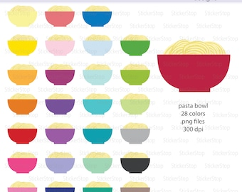 Bowl of Pasta Icon Digital Clipart in Rainbow Colors - Instant download PNG files