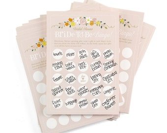 Bridal Shower Bingo, 25 Bride-To-Be Bridal Shower Bingo Cards On White Vellum 115 lb. Card Stock. 25 Bridal Shower Bingo Cards Per Pack
