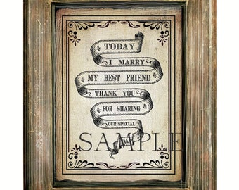 """Wedding Sign - """"Today I Marry My Best Friend"""" White w/Black Lettering -  Instant  Digital Download Keepsake Sign - 8x10 print"""