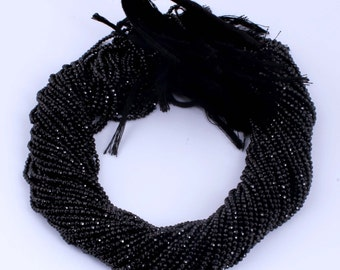 10 strands Black Spinel AAA Quality  Facet Rondelles 3.5-4mm 13.5 inch strand ISR-008