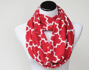 Red scarf, red white scarf Christmas red infinity scarf quatrefoil cotton jersey knit loop scarf geometric circle scarf for women &teen girl