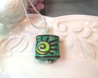 Necklace green lampwork square bead with clear crystals