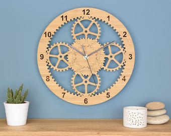 Gears Clock, Industrial Wall Clock, Unique Clock, Wooden Cog Clock, Retirement Gift for Him, Gift for Engineer, Gift for Dad, Husband