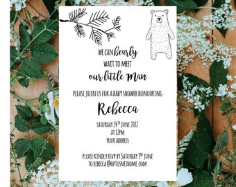Rustic Hipster Bear Baby Shower Invitations - Set of 50 Invitations | Baby Boy Shower Invitations | Rustic Bear Baby Shower | Baby Boy