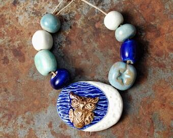 Sage de lune / lune en céramique et Owl pendentif et perles Set