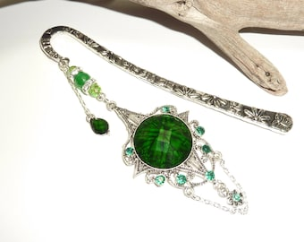 "Large bookmark ""samourail"" green Crystal silver jewelry"