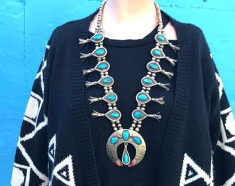 Vintage 60's squash blossom Navajo necklace/ sterling silver turquoise and coral necklace/ Native American made necklace/ boho necklace