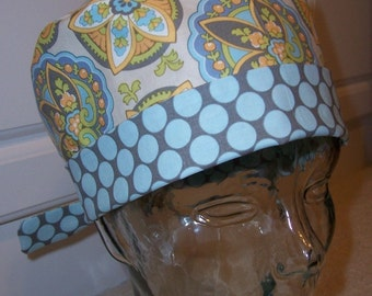 Tie Back Surgical Scrub Hat with Amy Butler Star Paisley in Sand