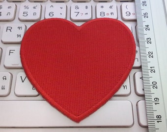 Heart Iron on patch - Red Heart Applique Embroidered Iron on Patch