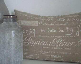 French Script Linen- Decorative Designer Pillow Cover- Neutral/Tan - throw/ lumbar pillow