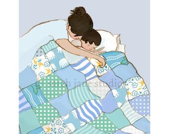 Children's Wall Art Print - Snuggle Me - Kids Nursery Room Decor