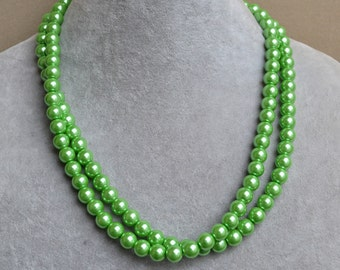 green pearl Necklaces,Glass Pearl Necklace, two Layer green bead Necklace, Wedding Necklace, bridesmaid necklace, statement necklace