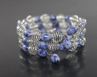Handcrafted Dumortierite Quartz & Silver-tone Beads Bracelet Memory Wire