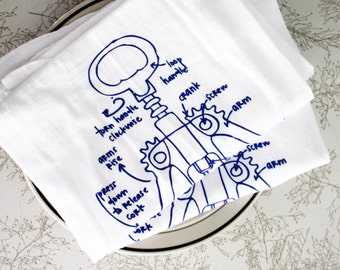Wine Tea Towel - Wine Corkscrew Towel - Kitchen Towel - Wine Hand Towel - Wine Diagram Dish Towel - White Cotton Dish Towel